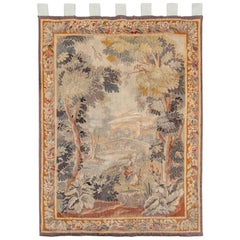 Antique Tapestry With Forest River Landscape