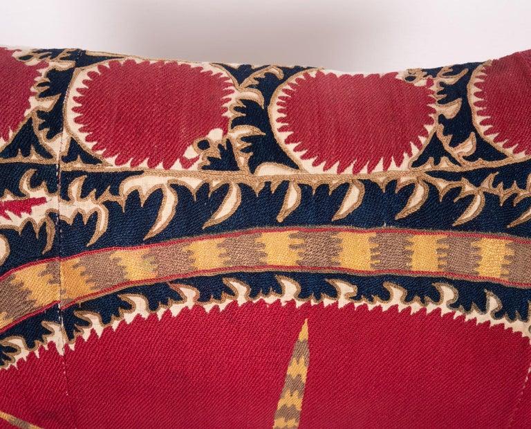 Uzbek Antique Tashkent Suzani Pillow Case Made from a 19th Century Suzani For Sale