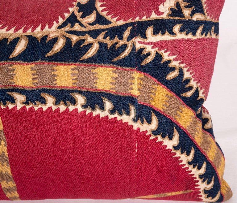 Embroidered Antique Tashkent Suzani Pillow Case Made from a 19th Century Suzani For Sale