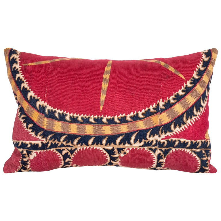 Antique Tashkent Suzani Pillow Case Made from a 19th Century Suzani For Sale