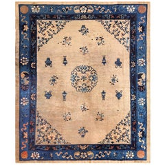 Antique Taupe Background Chinese Rug. Size: 8 ft 2 in x 9 ft 7 in
