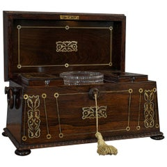 Antique Tea Caddy, English, Rosewood, Chest, Thomas of London, Regency