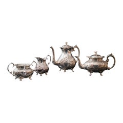 Antique Tea Service, English, Silver Plate, Hand Chased, Teapot, Jug, C.1900