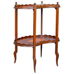Antique Tea Table, English, Edwardian, Two-Tier, Gallery, Side, circa 1910