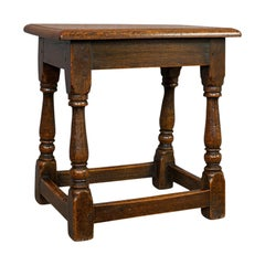 Antique Tea Table, English, Oak, Joint Stool, Coffee, Victorian, circa 1900