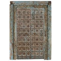 Antique Teak and Iron Doors in Frame, 20th Century