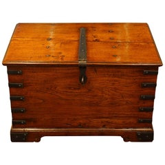 Antique golden teak Colonial iron bound merchants chest 19th century
