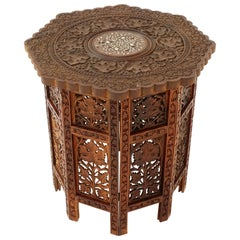 Antique Teak Table, Carved Campaign Table, Inlaid Table, India, 1920s