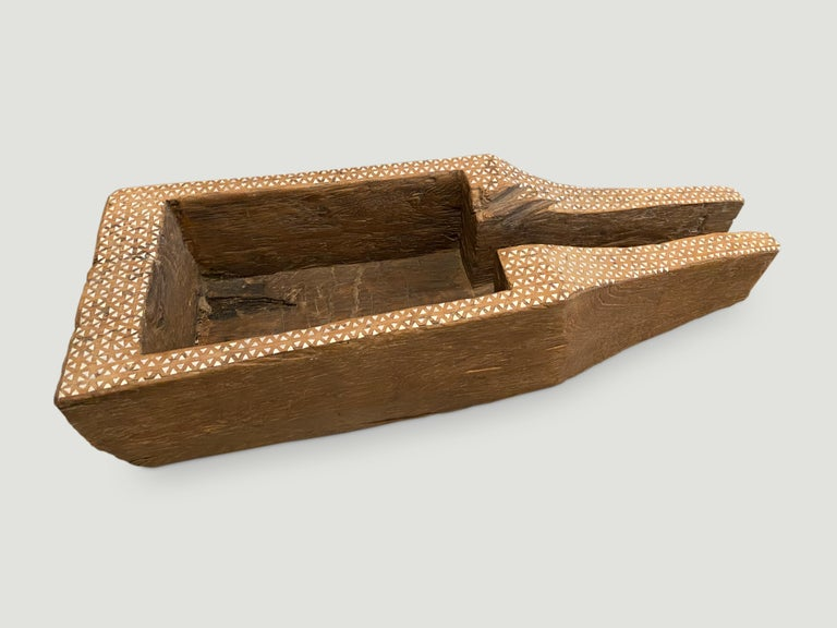 Beautiful aged teak wood container originally used to store rice. We have added the shell inlay by hand to the top section. A multiple of uses such as storing towels, magazines, firewood etc etc  This antique container was sourced in the spirit of