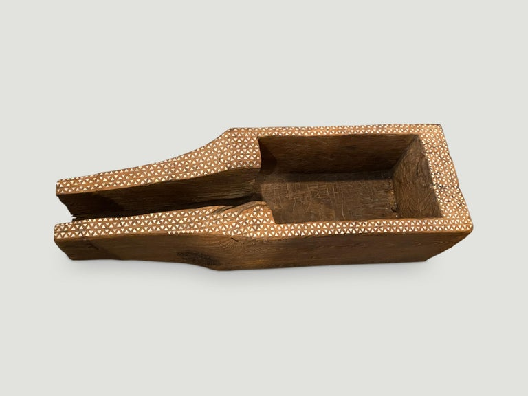 Organic Modern Antique Teak Wood and Shell Inlay Rice Container For Sale