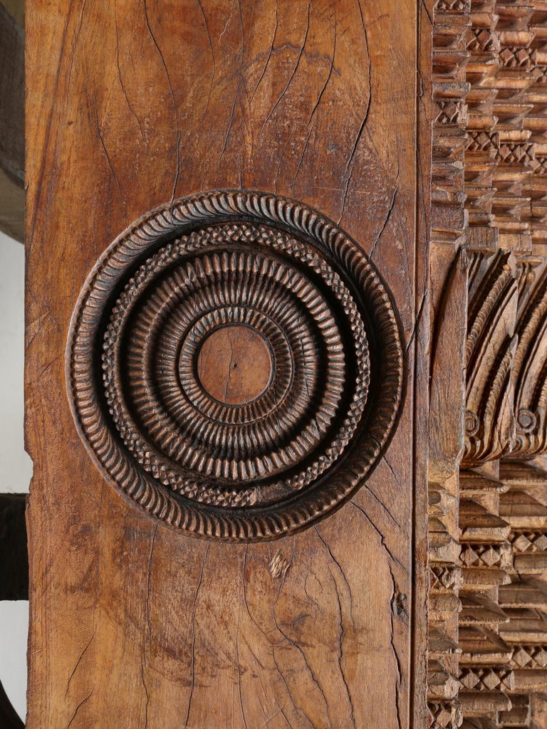 Antique Teak Wood Door Frame Imported from India with Exquisite Carving Details For Sale 3