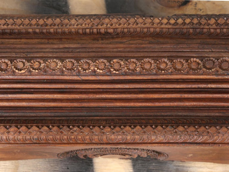 Antique Teak Wood Door Frame Imported from India with Exquisite Carving Details For Sale 7