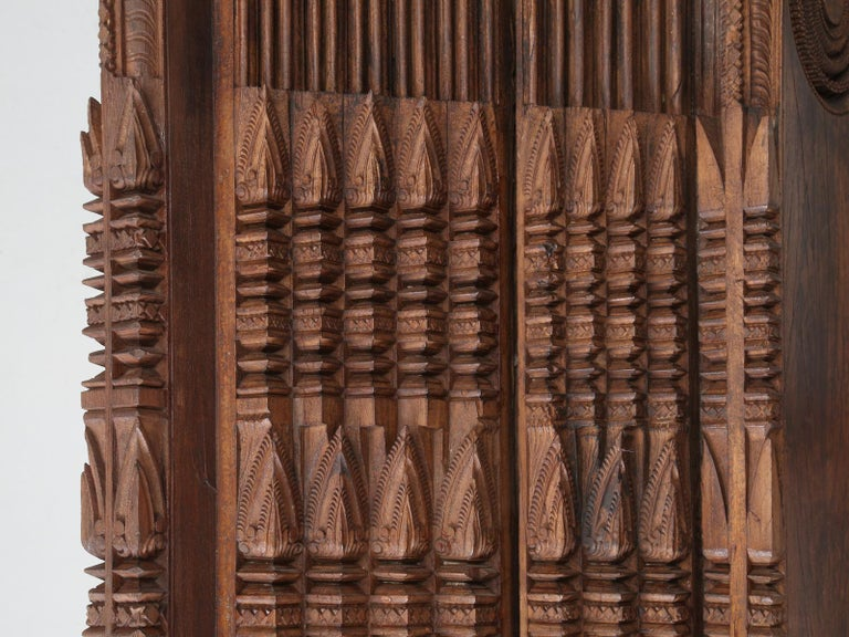 Hand-Carved Antique Teak Wood Door Frame Imported from India with Exquisite Carving Details For Sale