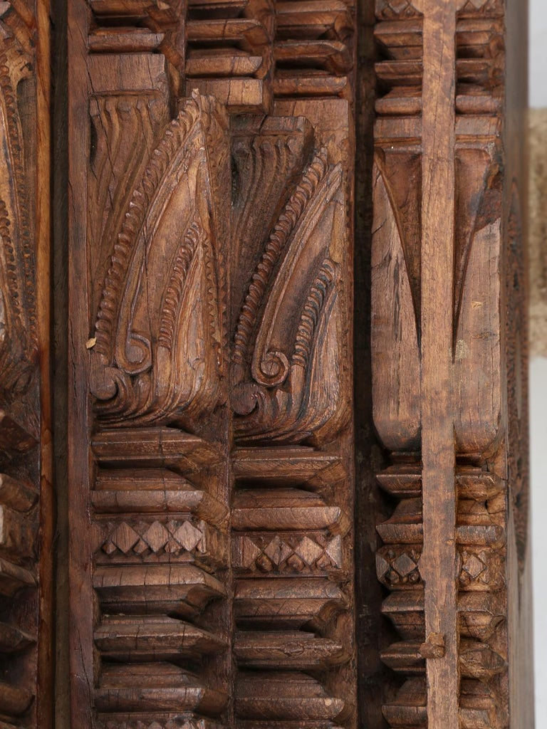 Antique Teak Wood Door Frame Imported from India with Exquisite Carving Details In Good Condition For Sale In Chicago, IL