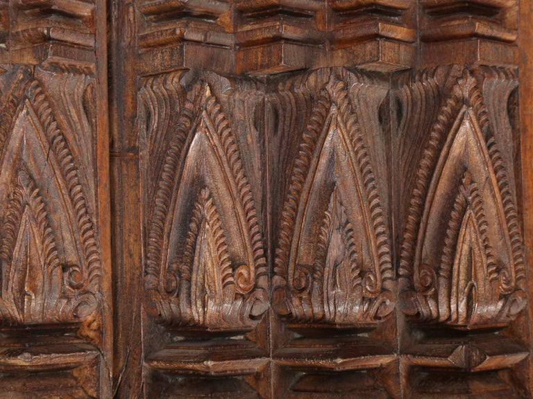 Late 19th Century Antique Teak Wood Door Frame Imported from India with Exquisite Carving Details For Sale