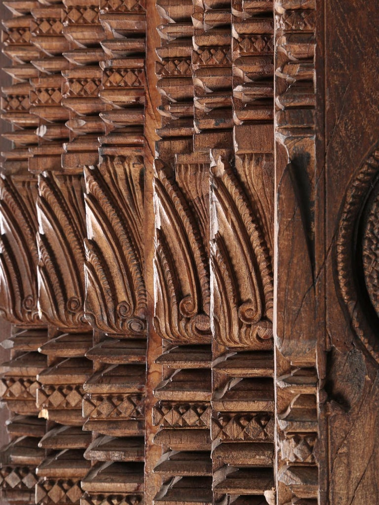Antique Teak Wood Door Frame Imported from India with Exquisite Carving Details For Sale 1