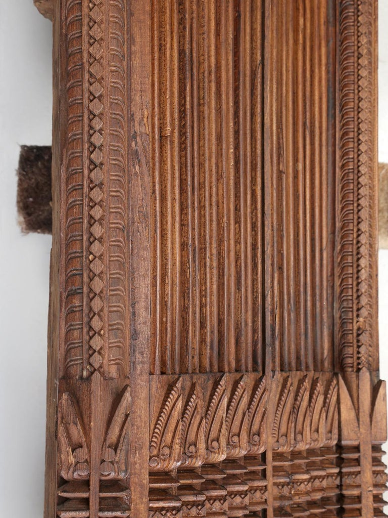 Antique Teak Wood Door Frame Imported from India with Exquisite Carving Details For Sale 2