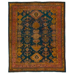 Antique Teal Turkish Oushak Carpet, Pink and Yellow Borders