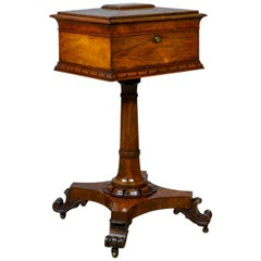 Antique Teapoy English William iv Rosewood Work Box, 19th Century, circa 1835