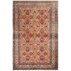 Antique Tehran Traditional Persian Beige and Red Wool Floral Rug with Cartouches