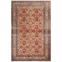 Antique Tehran Traditional Persian Beige and Red Wool Rug with Cartouches