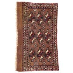 Antique Tekke Yomud Yomut Saryk Chuval Rug Bag Face, Turkmen Rug, Turkoman Rug