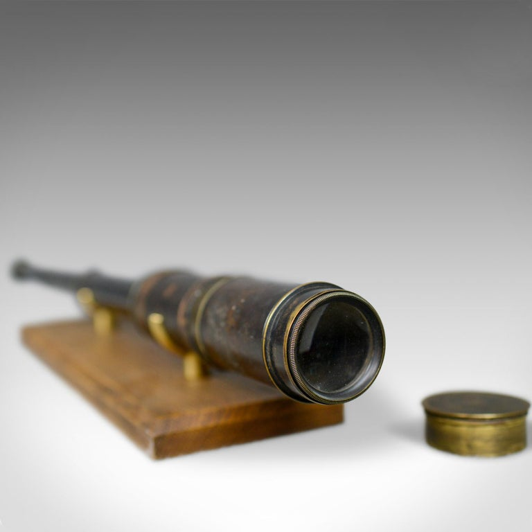 Antique Telescope, Three-Draw, Refractor, English Victorian, Spotter, circa 1880 In Good Condition For Sale In Taunton, GB