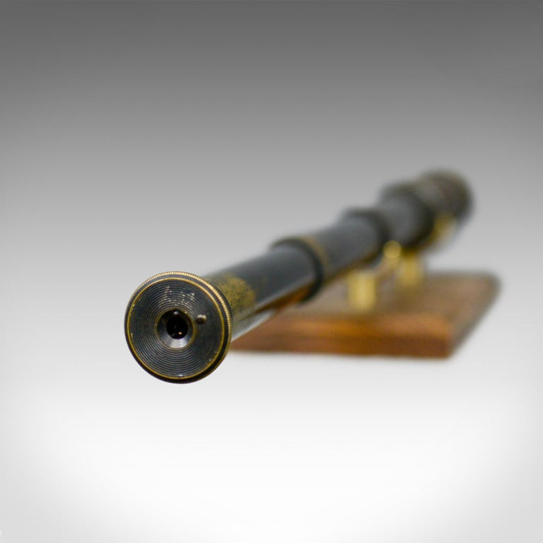 19th Century Antique Telescope, Three-Draw, Refractor, English Victorian, Spotter, circa 1880 For Sale