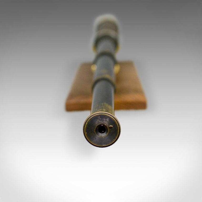 Brass Antique Telescope, Three-Draw, Refractor, English Victorian, Spotter, circa 1880 For Sale
