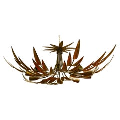 Antique Ten Golden Iron Leaves Chandelier or Ceiling