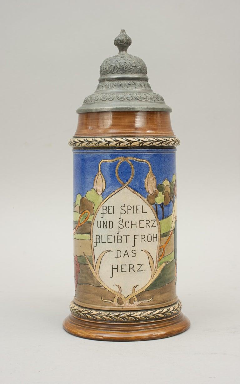 Antique Tennis Beer Stein, German Mettlach Type, 1914 For Sale 4