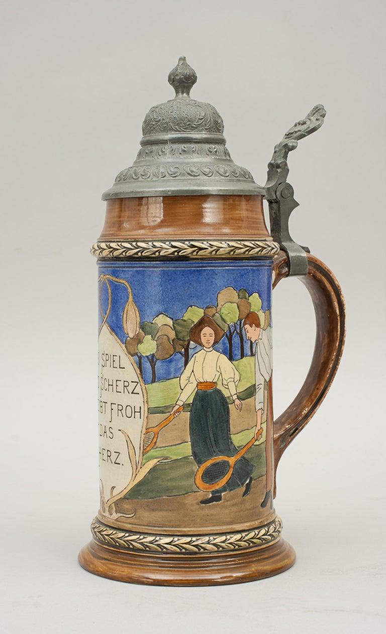Antique Tennis Beer Stein, German Mettlach Type, 1914 For Sale 5