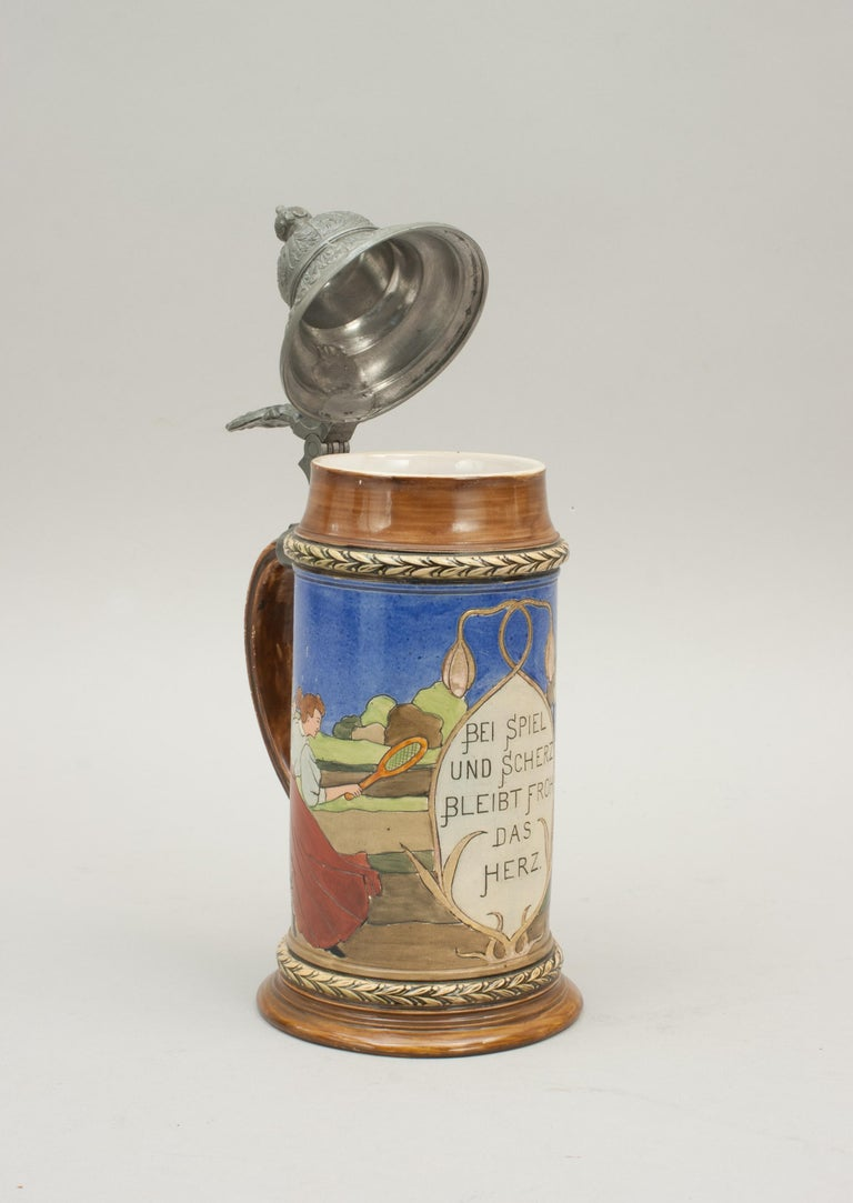Antique Tennis Beer Stein, German Mettlach Type, 1914 For Sale 6