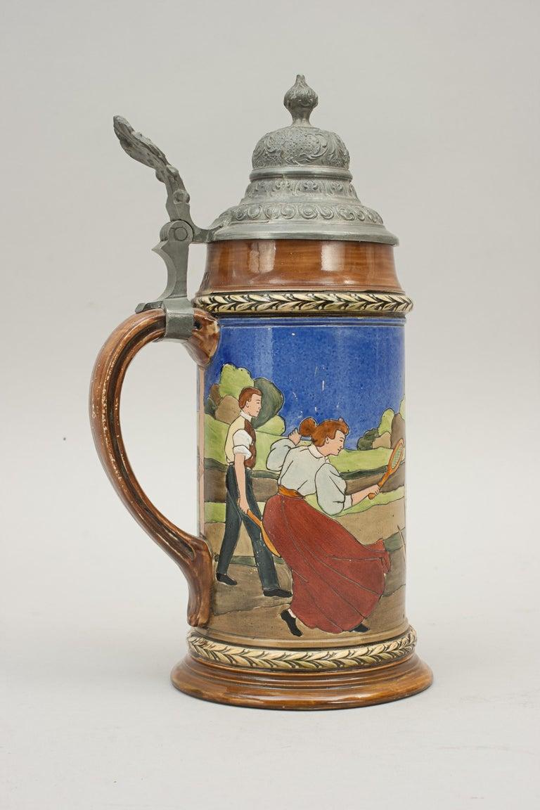 Antique Tennis Beer Stein, German Mettlach Type, 1914 For Sale 2