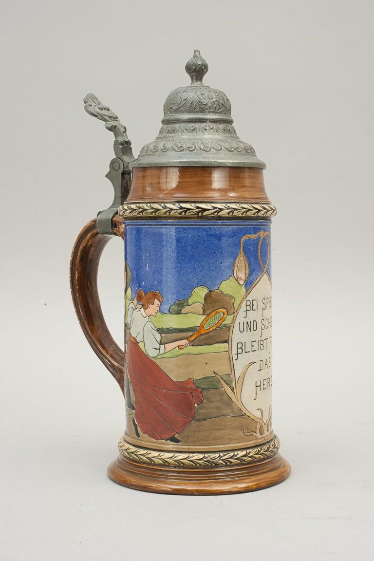 Antique Tennis Beer Stein, German Mettlach Type, 1914 For Sale 3