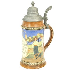 Antique Tennis Beer Stein, German Mettlach Type, 1914