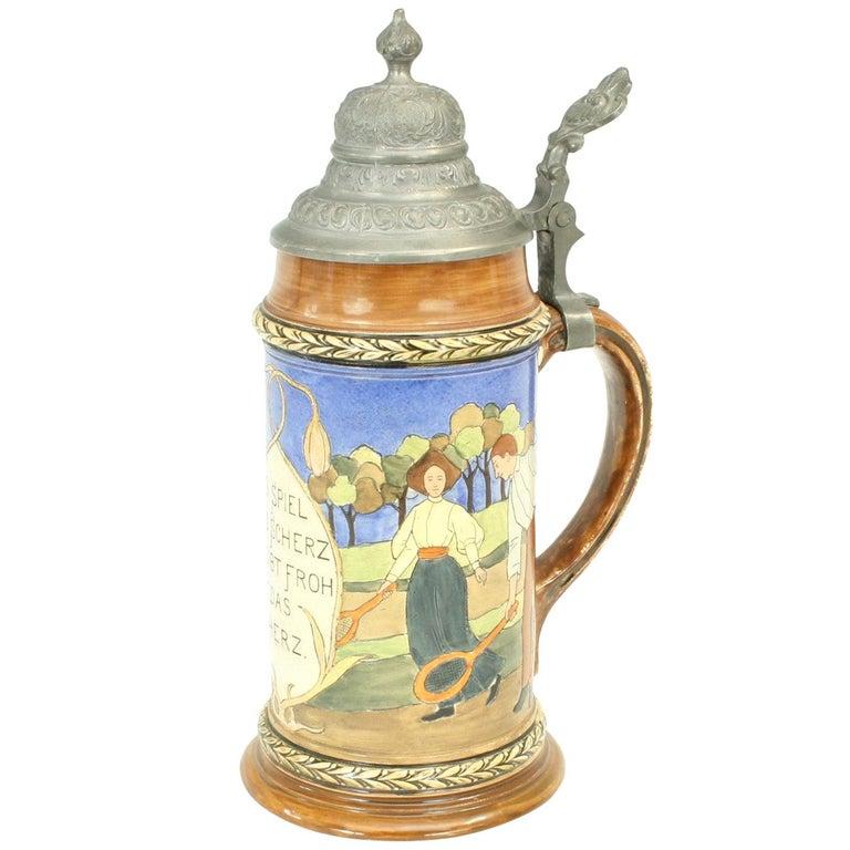 Antique Tennis Beer Stein, German Mettlach Type, 1914 For Sale