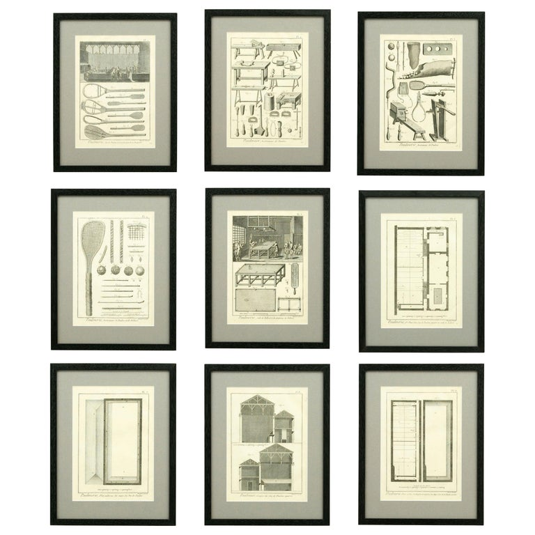 Antique Tennis Engravings, Paulmerie, Set of 9 For Sale