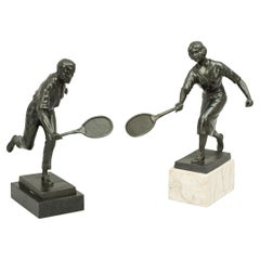 Antique Tennis Figures, Male and Female Tennis Statues