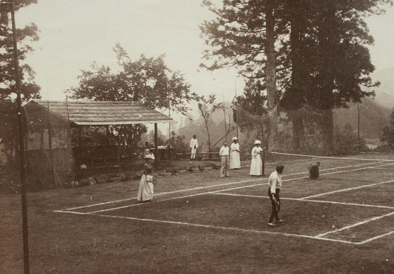 Sporting Art Antique Tennis Photograph, Colonial Tennis Scene For Sale