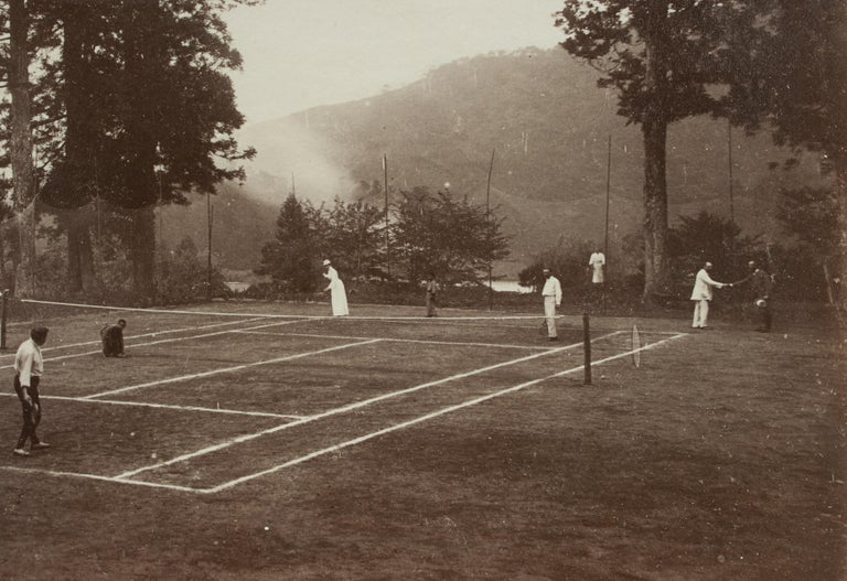 Unknown Antique Tennis Photograph, Colonial Tennis Scene For Sale
