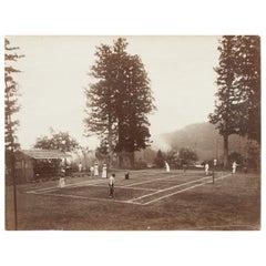 Antique Tennis Photograph, Colonial Tennis Scene