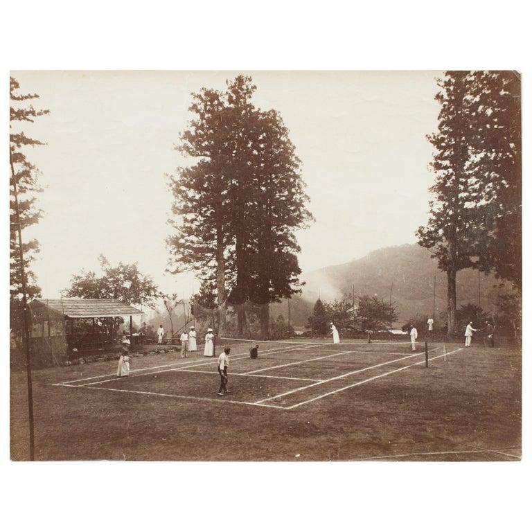 Antique Tennis Photograph, Colonial Tennis Scene For Sale