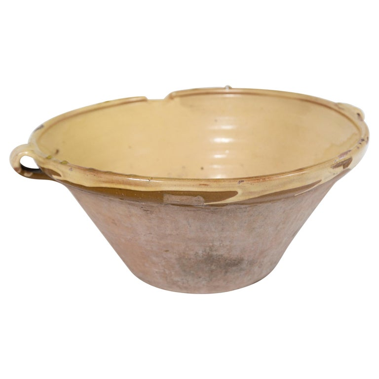 Antique Terra Cotta 'Tian' Bowl, France, Late 19th Century For Sale