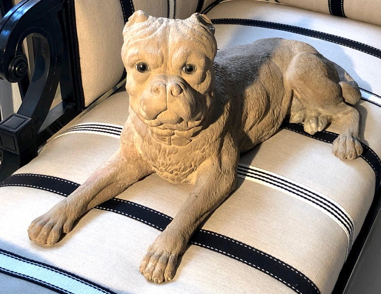 Antique Terracotta Dog English Bulldog Animal Sculpture, England For Sale 4