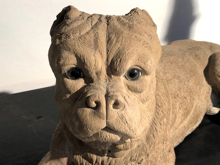 The finely modeled sculpture in the shape of a English bulldog is made out of terracotta and has glass eyes. It was made in England between circa 1860-1870.