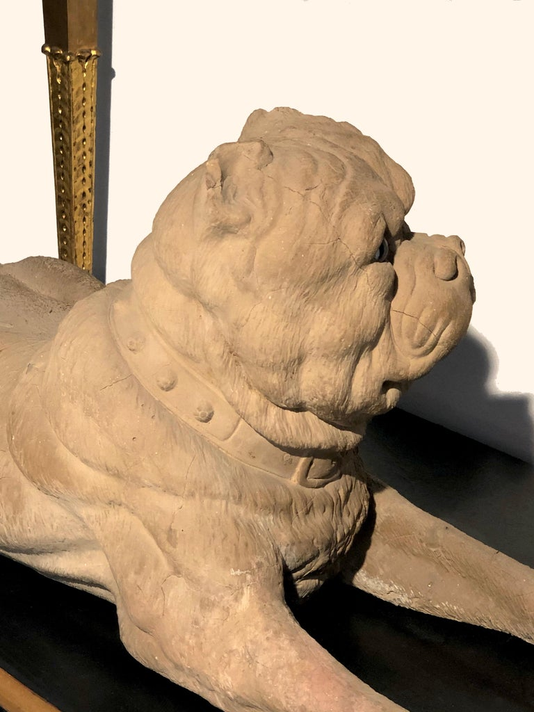 Victorian Antique Terracotta Dog English Bulldog Animal Sculpture, England For Sale