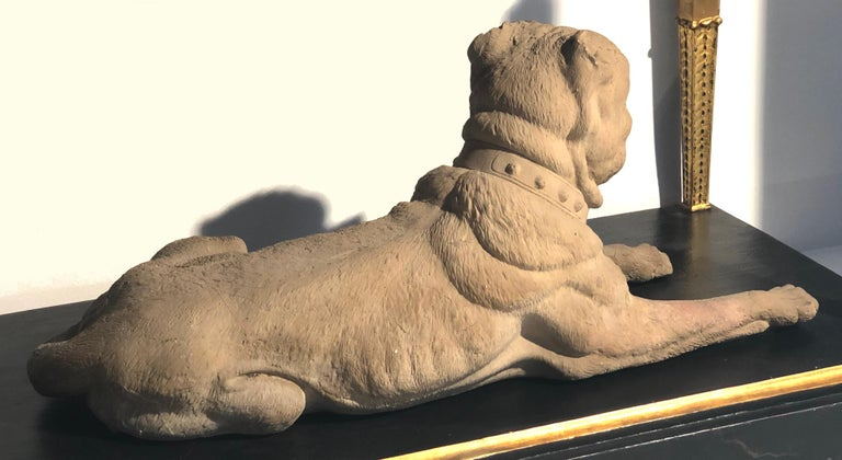 Cast Antique Terracotta Dog English Bulldog Animal Sculpture, England For Sale
