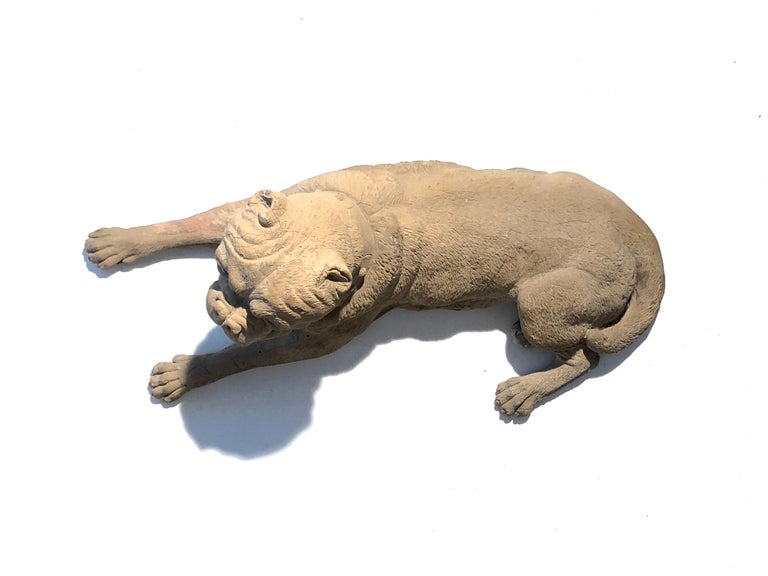 Mid-19th Century Antique Terracotta Dog English Bulldog Animal Sculpture, England For Sale