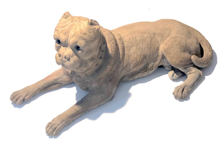 Antique Terracotta Dog English Bulldog Animal Sculpture, England For Sale 1
